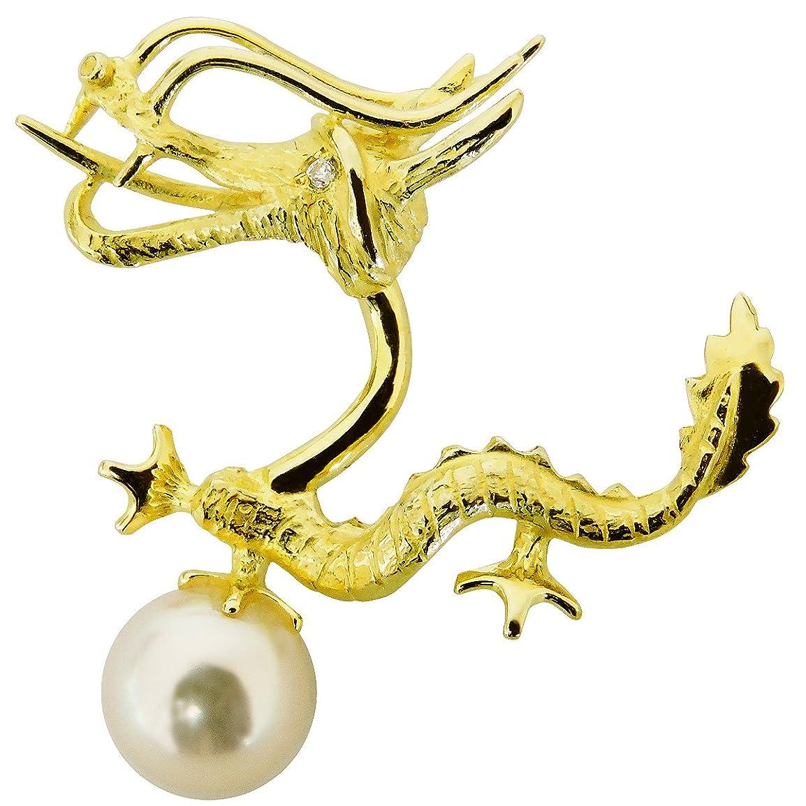 驚きイサカ炎上真珠の杜 あこや本真珠 8mm ダイヤモンド K18 イエローゴールド ピンズ ドラゴン 辰 B ラペルピン メンズ