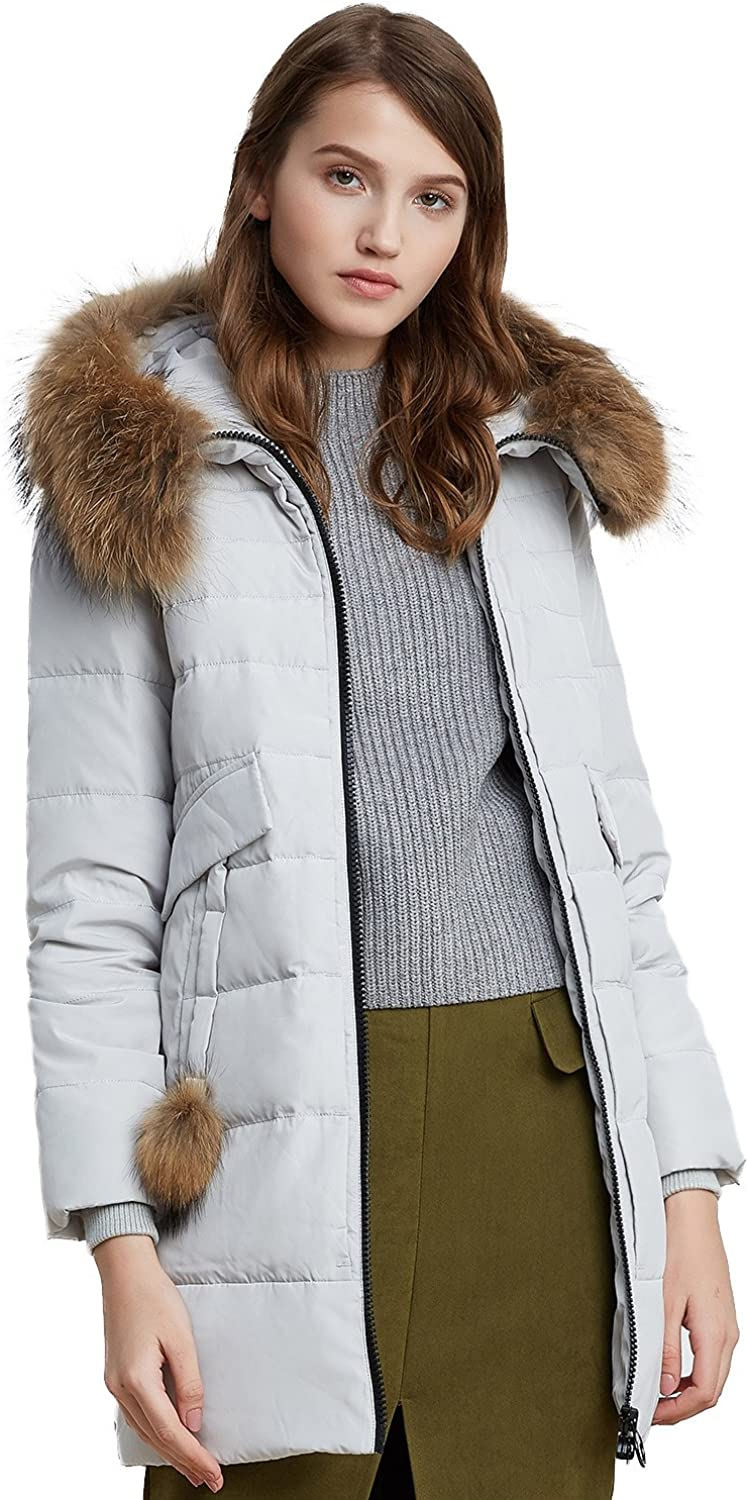 BOSIDENG Women's Down Jacket Real Fur Hooded Thick Slim Straight Down Coat Pompon Outerwear