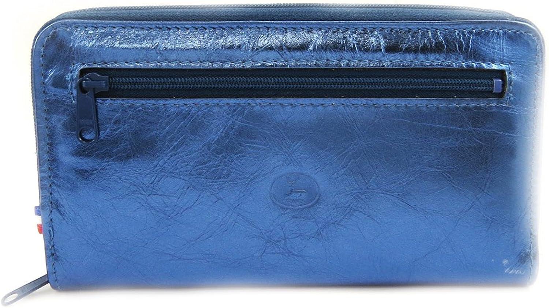 Wallet + checkbook holder leather zipped 'Frandi'electra bluee.