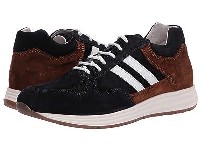 eleventy Mesh/Suede Runner Sneaker (Navy/Brown) Men