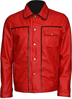 Men's Red Motercycle Style Hi-Quality Elvis Genuine Leather Jacket