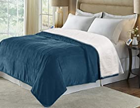 MARQUESS Heated Blanket Micro Plush Sherpa and Reversible Flannel Washable Comfortable Electric Throw Blanket with 4 Heat Settings/Safety 10 Hours Auto-Off Dual Controllers