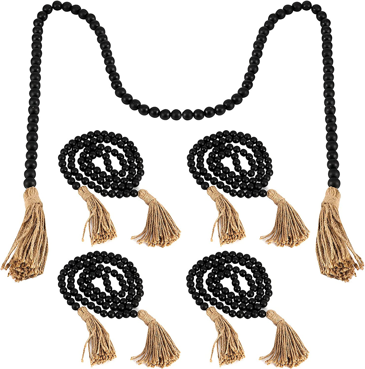 ZOENHOU 5 Pieces Each 57 Inch Tasse Bead Black Wood with Fees free Max 86% OFF Garland