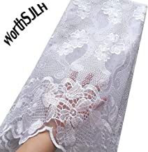 WorthSJLH Latest African Lace Fabric 2018 Nigerian Lace Fabric 2019 Cord Tulle French Laces Fabrics with Stones J854 (White)