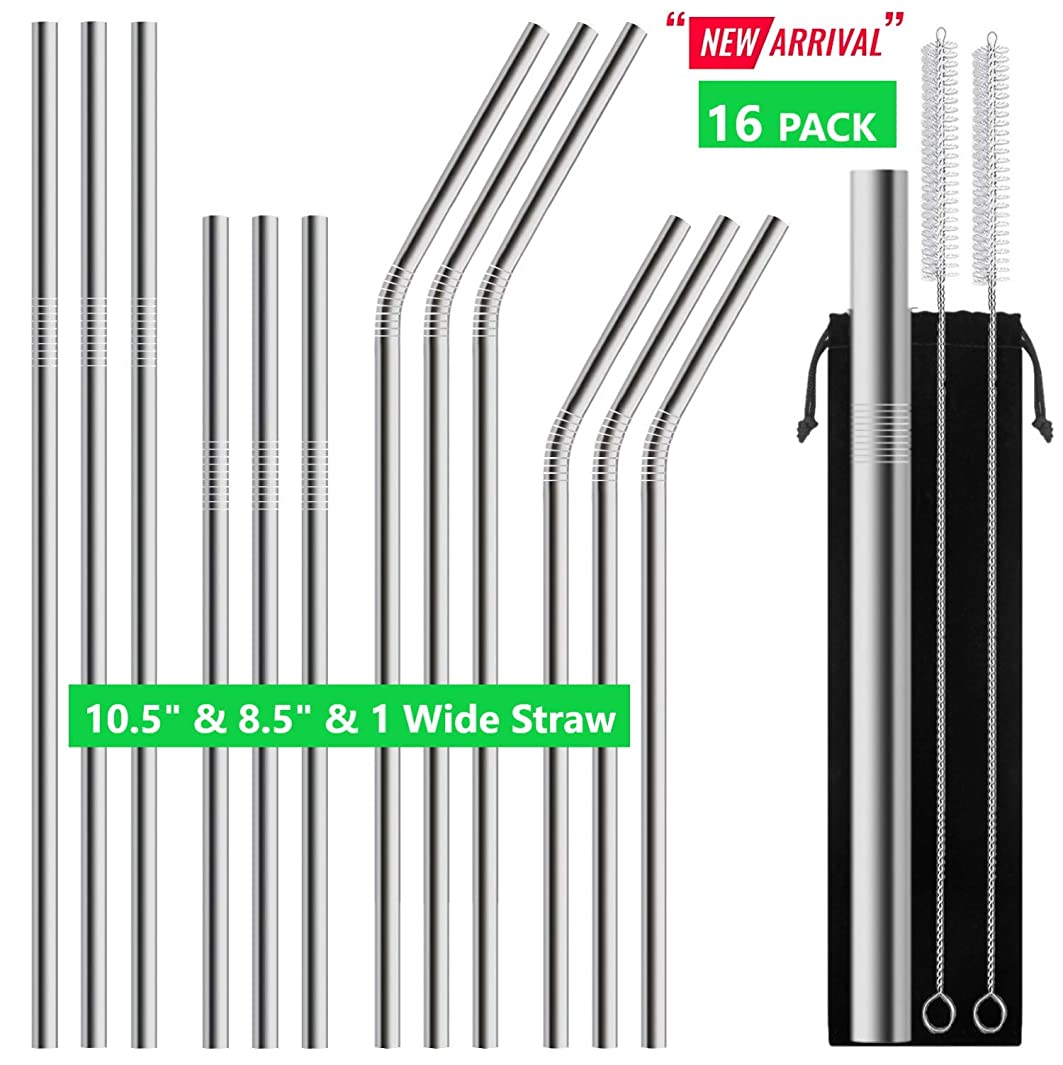 16 PACK -12 Stainless Steel Metal Straws Reusable of 10.5