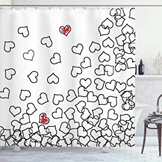 Ambesonne Black and White Shower Curtain, Heart Shapes Illustration Love You Bridal Wedding His and Hers Theme, Cloth Fabr...