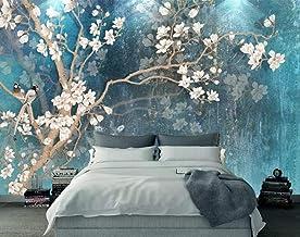 Papel Pintado 3D Fotomural Flor De Magnolia Azul Pintada A Mano Vintage Mural Papel Tapiz Pared Moderno Wallpaper,400cmX280cm