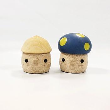 おもちゃのこまーむ 木のおもちゃどんぐりセット(どんぐりころころクリア×1、どんぐりきのこ ブルー×1)【木製玩具】/日本製
