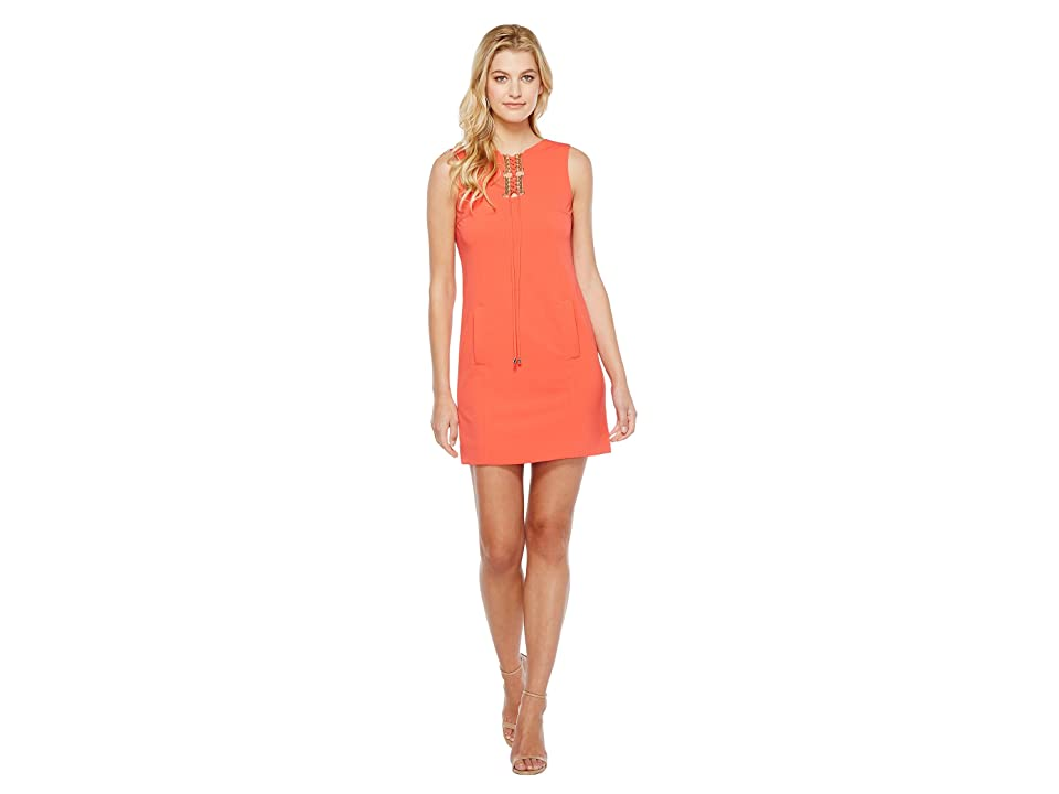 cf6e9d40d221 Tahari by ASL Lace-Up Shift Dress (Coral) Women
