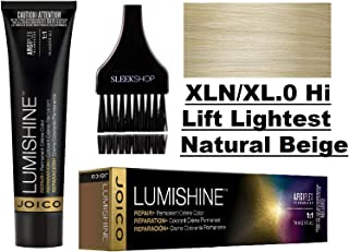 Joico LUMISHINE Repair+ PERMANENT Creme Hair Color (with Sleek Applicator Brush) Cream Haircolor (XLN/XL.0 Hi Lift Lightest Natural Beige)