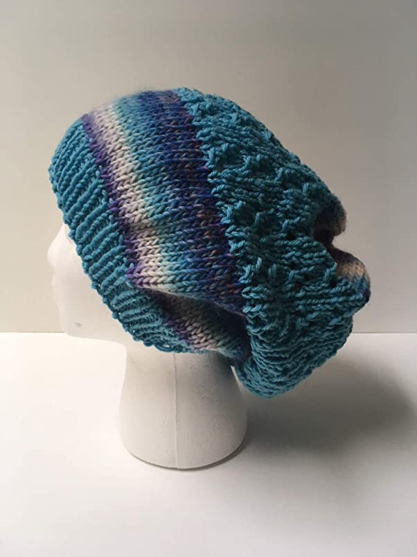 Handknit Slouchy Hat - Colorful 100% Wool - XL Size - One of a Kind rhmmvipp283183