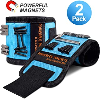 Magnetic Wristband Gifts for Men, 2 Pack Magnetic Tool Belt Super Strong Magnets, Best Gifts for Men, Dad, Father, Husband, DIY Handyman, Wrist Tool Holder for Holding Screws, Nails, Drill Bits (2)