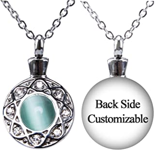Fanery Sue Personalized Custom Cremation Urn Necklace for Ashes Memorial Stainless Steel Pendant W/Cat Eye Stone