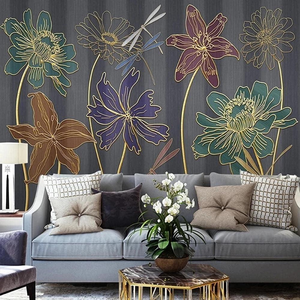 Custom Mural Wallpaper 3D Embossed Excellence shop Flower Line Fr Drawing Golden