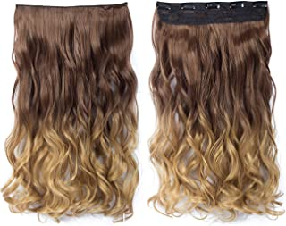 Beautyself Hair Extensions Ombre Clip in Curly One Piece on Short Hair (#8T27)
