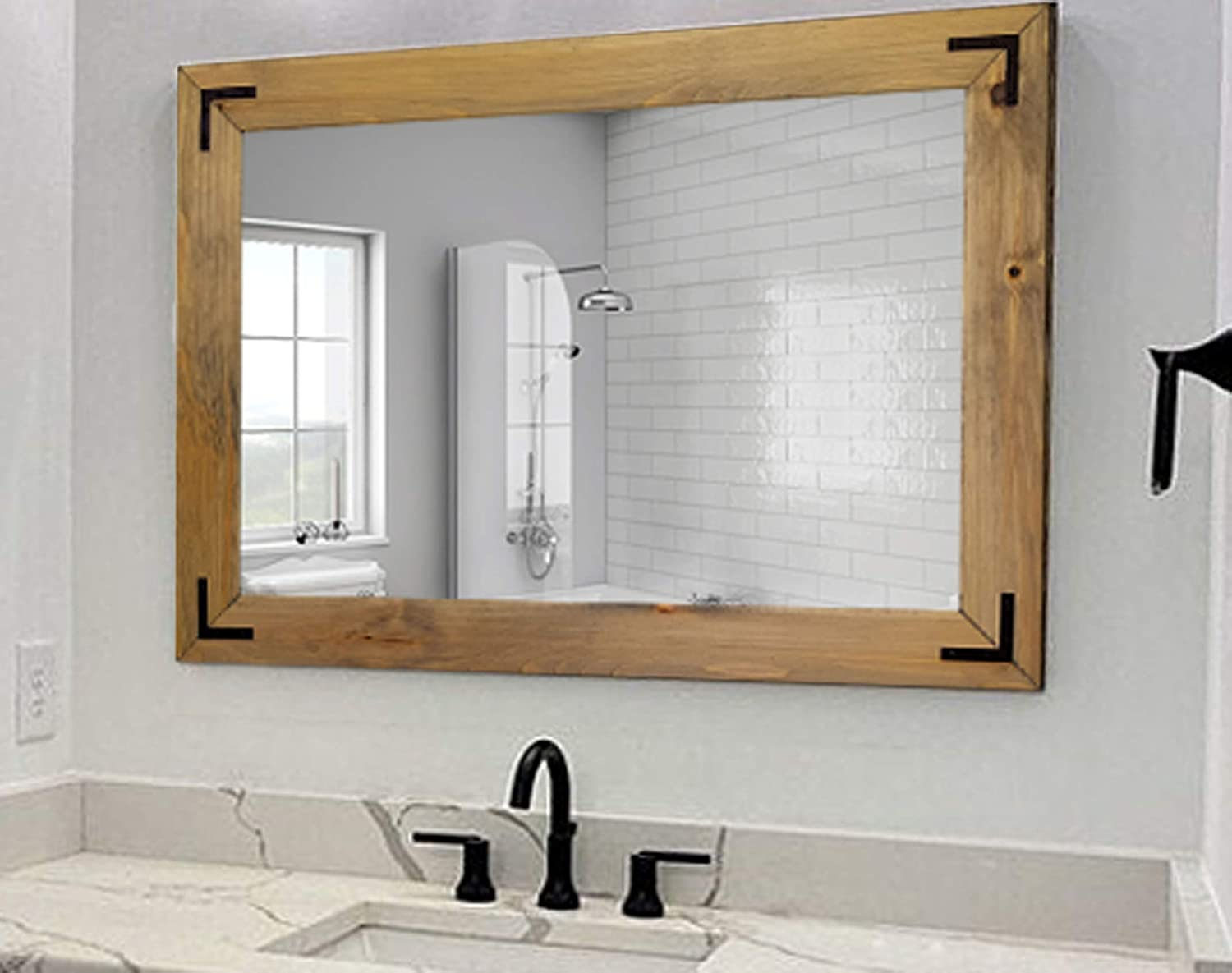 Shiplap Rustic Wood Framed Mirror With Accent Brackets, 20 Stain Colors - Shown In Weathered Oak - Vanity Mirror, Bathroom Mirror, Beach House Decor, Full Length Mirror, Wall Mirror, Large Mirror