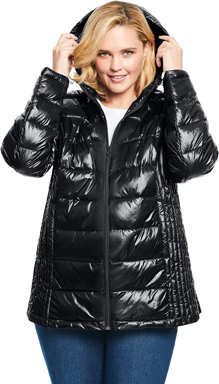 Woman Within Women's Plus Size Packable Puffer Jacket
