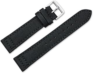 20mm Replacement Watch Band - Nylon Canvas w/Leather Lining - Black Watch Strap