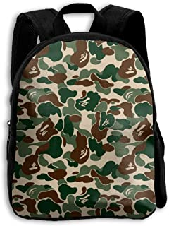 Aniaml Bape Lightweight Backpack for School Water Resistant Casual Daypack for Travel with Bottle Side Pocket