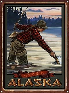 Fishing Sitka Alaska Evening Fly Fisherman Rustic Metal Art Print by Paul A. Lanquist (9