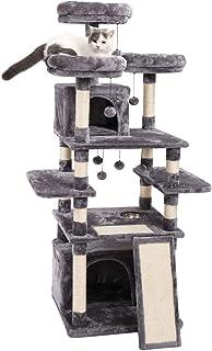 [Amazonブランド] Umi.(ウミ) 大型キャットタワー 猫タワー 大型 巨大サイズ 多頭飼い 2つ猫ハウス ハンモック 安定遊び場 頑丈耐久 天然サイザル麻 グレー