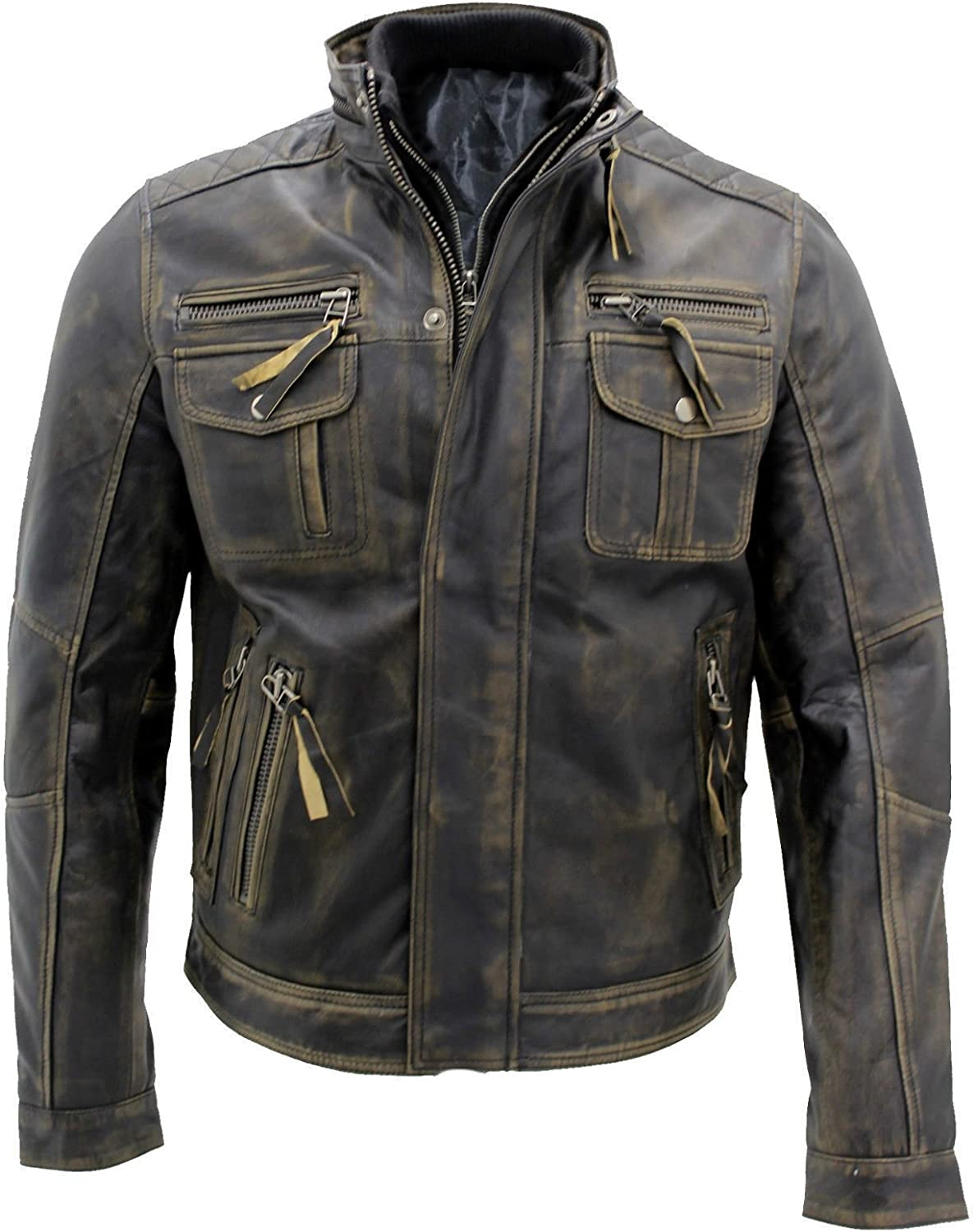 Men's Brown Vintage Style Distress Leather Jacket, Goatskin Quilted Lining