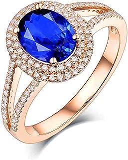 Daesar Anelli Amicizia Oro Rosa 18K, Anello Promessa Matrimonio Anello con Tanzanite 1.7ct di Forma Ovale Anello Oro Rosa ...