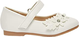 Shoexpress Floral Embellished Mary Jane Shoes with Hook and Loop Closure