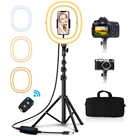 "Babacom 10.2"" Selfie Ring Light con Treppiede & Supporto Cellulare, Portatile Pieghevole Luce Tik Tok, 3 Modalità Colore, Telecomando Wireless, Lunghezza 50"", per fotografica/YouTube/Live Streaming"
