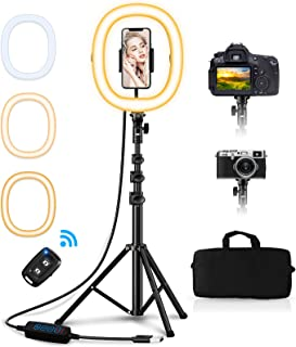 "Babacom Aro de Luz con Tripode, Ring Light 10.2"" Portátil Plegable con 3 Color Modos, Control Remoto Bluetooth, Bolsa de T..."