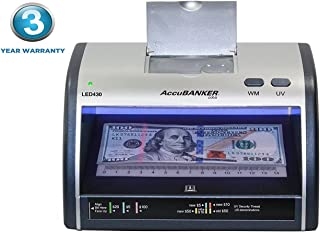 AccuBANKER Cash + Card Counterfeit Detector LED430 Money Checker with Superbright LEDs Ultraviolet, Magnetic & Size Detection … (LED430)