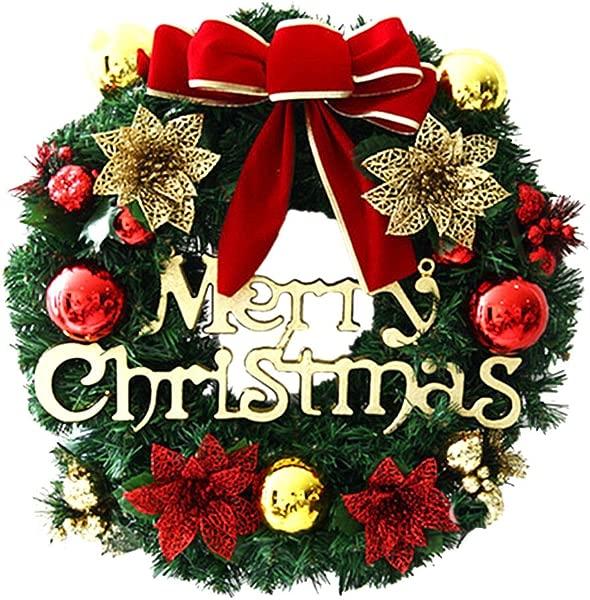 2018 Merry Christmas Wreath Decor Cuekondy Bowknot Berries Ornaments Garland Front Door Wreaths Indoor Outdoor Window Door Wall Hanging Decoration For Xmas Party Home Decor C 30cm