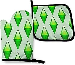 Juego de manoplas y soportes para ollas de los Sims Plumbob para cocina, resistentes al calor, para barbacoa, hornear, asar a la parrilla, lavable a máquina (2 unidades)