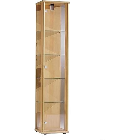 Vitrina Mueble de pared 176x37x33 cm en color haya con iluminación con 4 estantes de vidrio