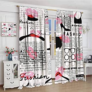 Soundproof Curtain W108 x L84 Inch,Noise Reducing Curtain,Old Newspaper,Fashion Elements Kisses Lipstick Glasses Shoes Hangers Print,Scarlet Baby Pink Black