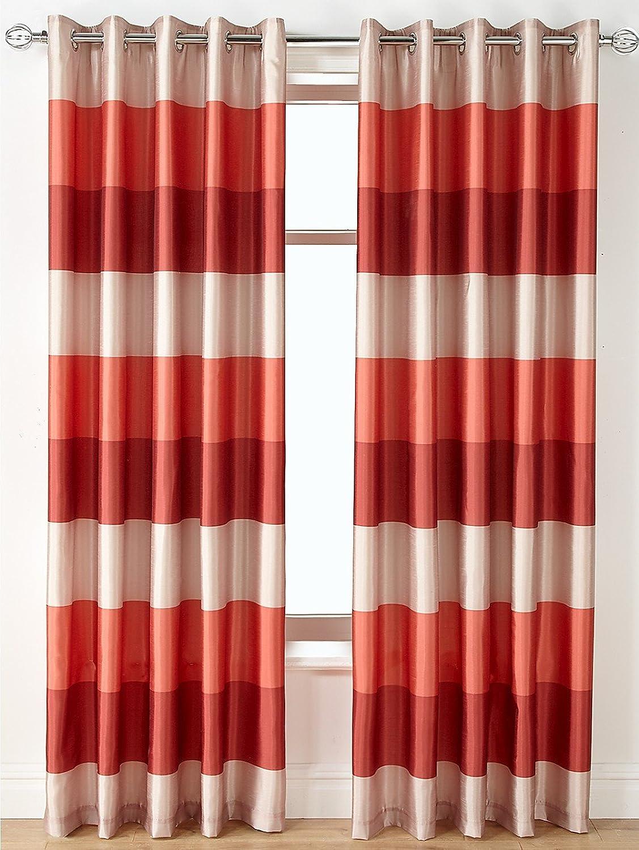 Striking Reo Faux Silk Ring Top Eyelet Curtains (Pair) - Spice - 90  Width x 90  Drop