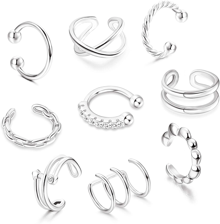 Florideco 9pcs Minimalist Ear Cuff Sacramento Mall Fees free!! Earrings CZ Women Dainty for