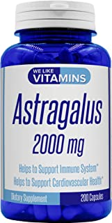 Astragalus 2000mg Equivalent 4:1 Extract – 200 Capsules – Astragalus Supplement – Helps Support Strong Immune Function and Cardiovascular System Astragalus Root Extract