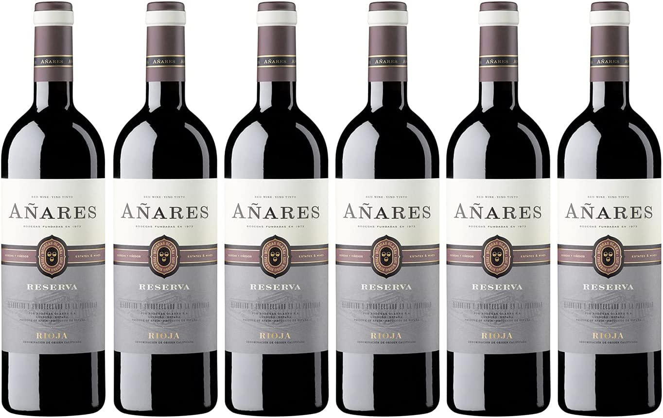 Añares - Vino Tinto Reserva, La Rioja, Vino de Bodegas Olarra, Pack de 6 Botellas de 750 ml