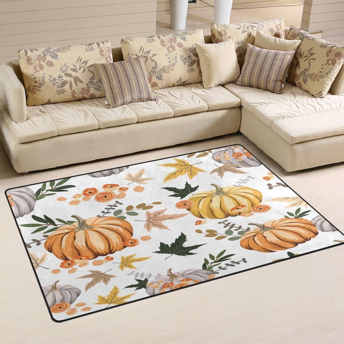 ALAZA Home Decor New mail Oklahoma City Mall order Autumn Orange Flowers Pumpkins Area Rug Leaves