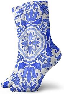 Elsaone, Azulejos portugueses Azul y blanco Patrones preciosos Calcetines Equipo para hombres Mujeres Niños, Trekking, Rendimiento, Exterior 30 cm / 11.8 pulgadas