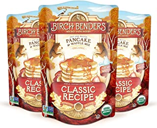 Organic Pancake and Waffle Mix, Classic Recipe by Birch Benders, Whole Grain, Non-GMO, 16 Ounce, Pack of 3