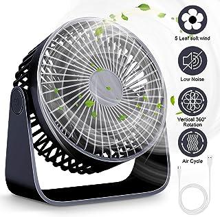 Mini Ventiladores de Sobremesa, Ventilador USB de Escritorio, Ventilador 360 ° Rotación,Ventilador de Mesa Silencioso, Ventilador USB 3 Ajustable para Oficina, Hogar, Viaje(azul)
