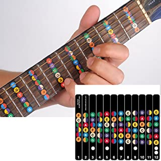 Guitar Fretboard Note Decals Sticker Color Coded Guide for Guitar Beginners Gift - FREE 1 Guitar Pick
