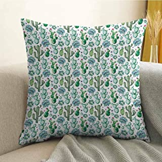 FreeKite Cactus Decor Silky Pillowcase Hand Painted Exotic Plant Collection Saguaro Prickly Pear Succulents Spines Super Soft and Luxurious Pillowcase W20 x L20 Inch Multicolor