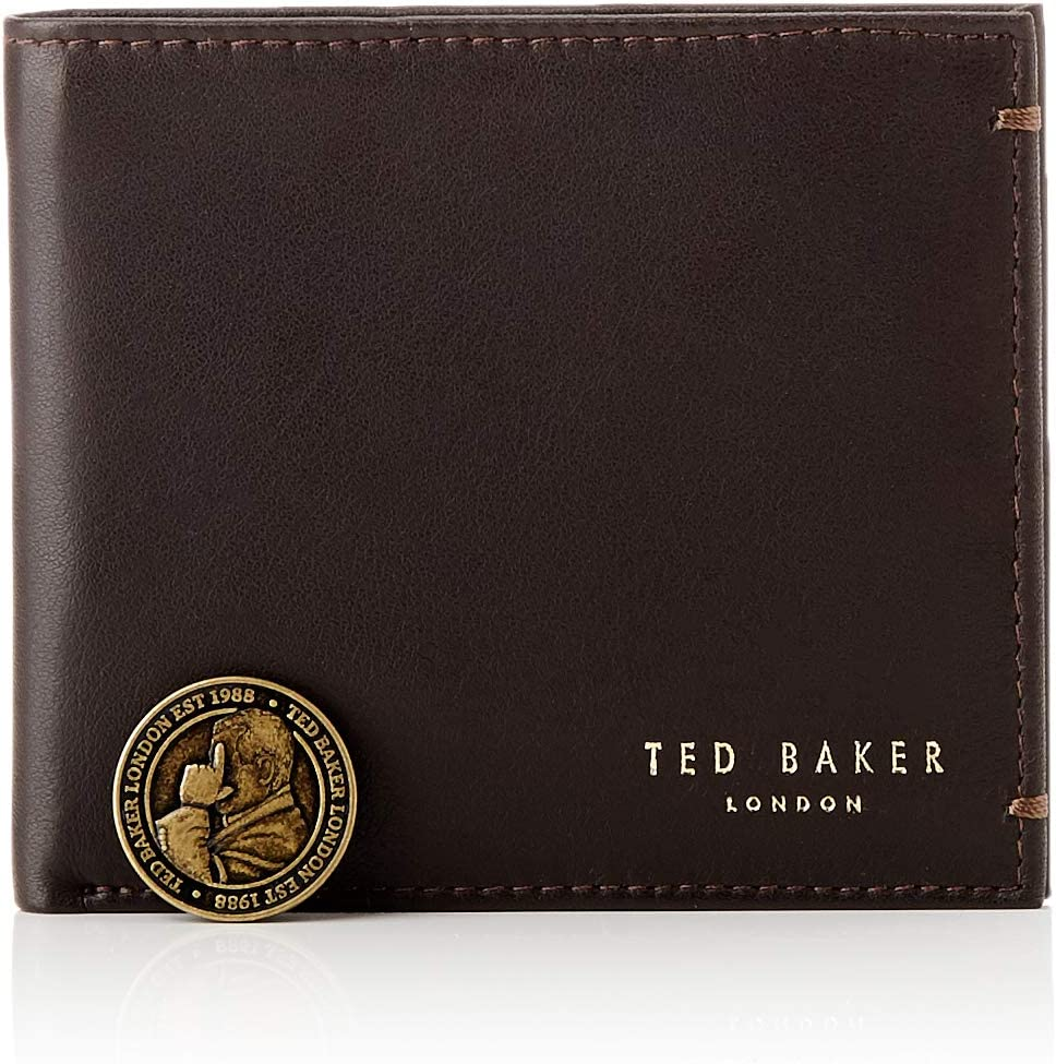 Ted Baker Men's Core Bifold Leather Travel Accessory- Bi-Fold Wallet, DK-BROWN, One Size