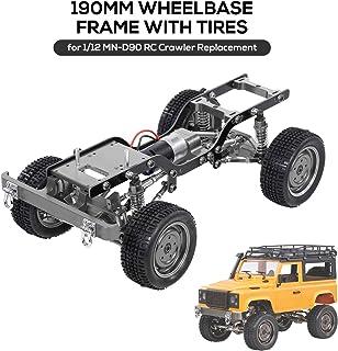 Walmeck- Reemplazo de 190 mm Marco de chasis con Distancia Entre Ejes de Metal Completo con neumáticos 370 Motor Gearbox para 1/12 RC Crawler Car DIY Parts