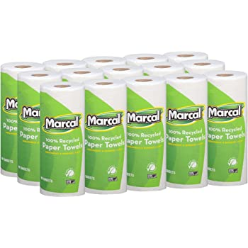 Marcal Paper Towels 100% Recycled 2-Ply, 60 Sheets Per Roll - Case of 15 Individually Wrapped Green Seal Certified 06709,White