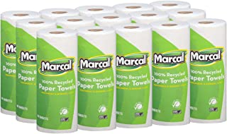 Marcal Paper Towels 100% Recycled 2-Ply, 60 Sheets Per Roll – Case of 15..