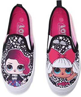 Girls 11-2 Canvas Shoes with Glitter Sides